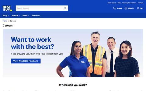 Screenshot of Jobs Page bestbuy.ca - Best Buy Careers | Best Buy Canada - captured Sept. 16, 2019