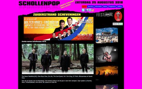 Screenshot of Home Page schollenpop.nl - Gratis toegankelijk popfestival op het strand van Scheveningen - captured July 27, 2018