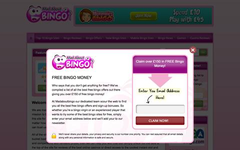Screenshot of Home Page madaboutbingo.com - Mad About Bingo - Bingo Comparsion Site & Exclusive Offers - captured Aug. 2, 2015