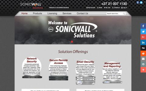 Screenshot of Home Page sonicwallsolutions.com - SonicWall Solutions (ZA) - SonicWALL Sales, Technical Support & Managed Services - captured Dec. 12, 2017