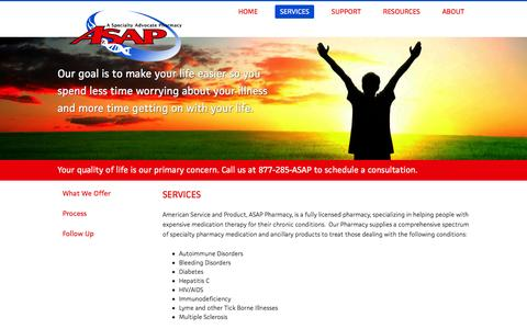 Screenshot of Services Page wecareasap.com - Services | ASAP Pharmacy - captured Feb. 6, 2016