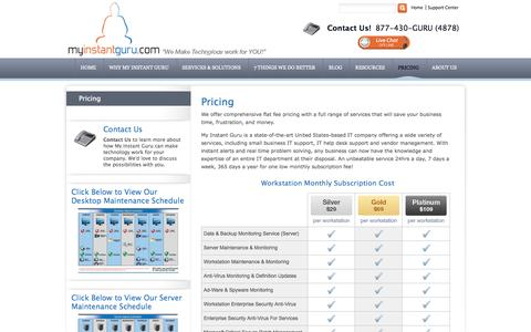 Screenshot of Pricing Page myinstantguru.com - IT Support Pricing | My Instant Guru - captured Oct. 26, 2014
