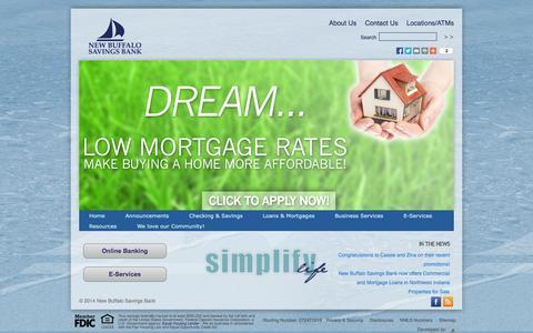 Screenshot of Home Page newbuffalosavings.com - New Buffalo Savings Bank - captured Sept. 19, 2014