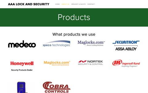 Screenshot of Products Page aaalockandsecurity.com - Products — AAA Lock and Security - captured Nov. 19, 2016