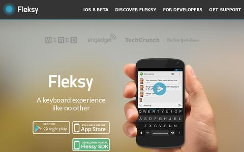 Screenshot of Home Page fleksy.com - Fleksy | Happy Typing - captured July 11, 2014