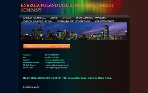Screenshot of Contact Page energiapoland.com - Contact - ENERGIA POLAND LTD. HONG KONG, PARENT COMPANY - captured Jan. 29, 2016