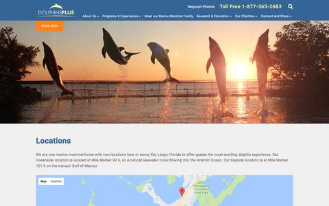 Screenshot of Locations Page dolphinsplus.com - Dolphins Plus Bayside & Oceanside | Dolphins Plus - captured June 5, 2017