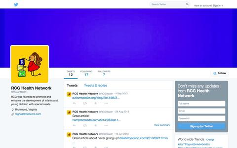 Screenshot of Twitter Page twitter.com - RCG Health Network (@RCGHealth) | Twitter - captured Oct. 26, 2014