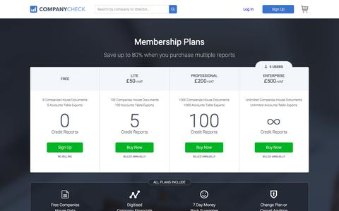 Screenshot of Signup Page Pricing Page companycheck.co.uk - Company Check - Subscribe - captured April 8, 2018