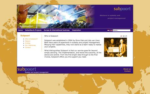 Screenshot of About Page subpoort.com - Who is Subpoort   About us - captured Oct. 26, 2014