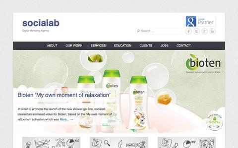 Screenshot of Home Page Menu Page socialab.gr - socialab - Digital Marketing Agency - captured Sept. 30, 2014