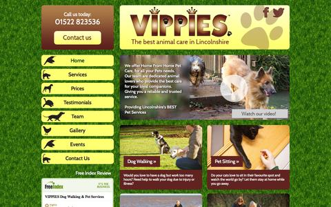 Screenshot of Home Page vipslincoln.co.uk - Vippies | Providing Lincolnshire's best pet services - Dog walking, Pet sitting, Doggie Day care, Equine care and Foster care - Vippies - captured Oct. 7, 2014