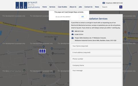 Screenshot of Contact Page projectskillssolutions.com - Project Skills Solutions Installations - Contact usInstallation Website - captured Sept. 30, 2018