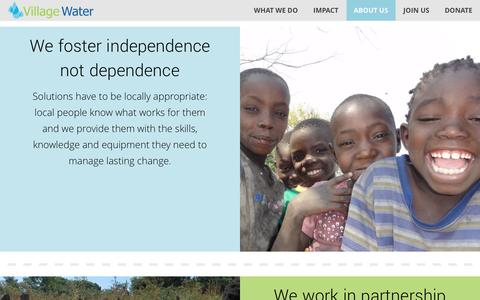 Screenshot of About Page villagewater.org - Why Us – Village Water - captured Dec. 12, 2016