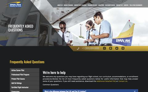 Screenshot of FAQ Page panamacademy.com - Frequently Asked Questions | Pan Am International | Flight Academy Type Ratings, Boeing 737, A320, Flight Attendant, Dispatcher, ATP-CTP Training - captured Sept. 26, 2018