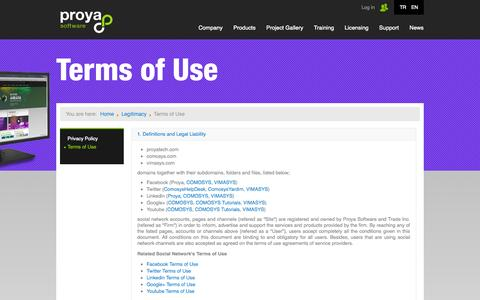 Screenshot of Terms Page proyatech.com - Terms of Use - captured Oct. 27, 2014