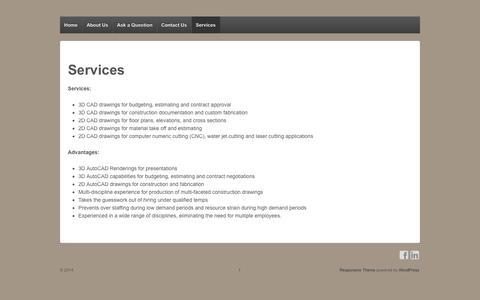 Screenshot of Services Page cad-struct.com - Services | - captured Sept. 26, 2014