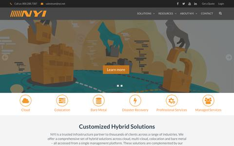 Screenshot of Home Page nyi.net - Colocation | Dedicated Servers | Cloud | New York & New Jersey | NYI - captured Sept. 22, 2018