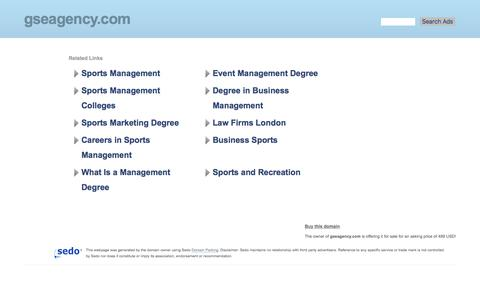 Screenshot of Home Page gseagency.com - gseagency.com-This website is for sale!-Sports Agency Sports Agency Sports Management Management London Louis Smith Andy Turner Resources and Information. - captured July 12, 2017