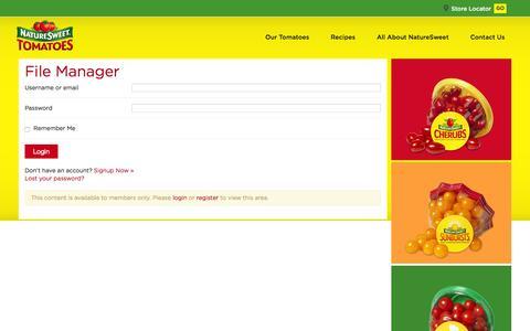 Screenshot of Login Page naturesweet.com - File Manager   NatureSweet - captured Jan. 13, 2016