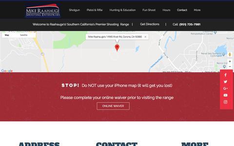 Screenshot of Contact Page raahauges.com - Raahauge's | Contact | Corona CA - captured Sept. 22, 2018