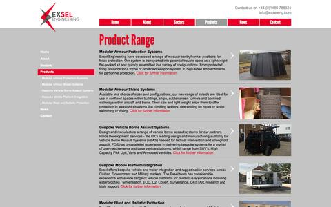 Screenshot of Products Page exseleng.com - Products - captured Oct. 3, 2014