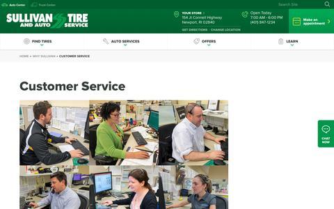 Screenshot of Support Page sullivantire.com - Customer Service | Sullivan Tire & Auto Service - captured Sept. 22, 2018