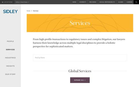 Screenshot of Services Page sidley.com - Services  | Sidley Austin LLP - captured July 19, 2017