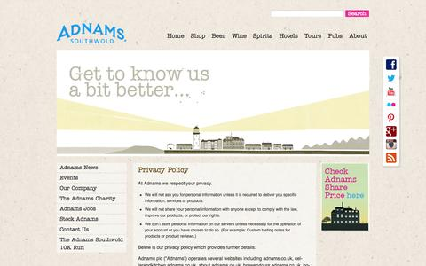 Screenshot of Privacy Page adnams.co.uk - Privacy policy | Adnams Southwold - captured Sept. 22, 2014