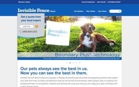 Screenshot of Home Page invisiblefence.com - More than a dog fence, it's freedom & safety - Invisible Fence® Brand - captured Oct. 2, 2015