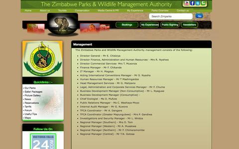 Screenshot of Team Page zimparks.org - Management - captured Feb. 23, 2016