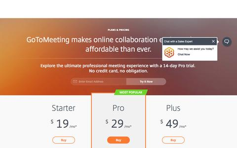 Screenshot of Pricing Page gotomeeting.com - GoToMeeting Pricing | GoToMeeting - captured March 23, 2017