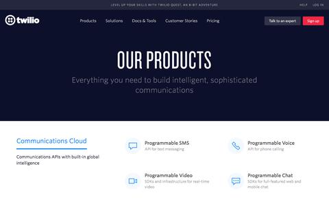 Screenshot of Products Page twilio.com - Twilio Products - captured Nov. 15, 2017