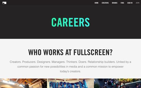 Screenshot of Jobs Page fullscreen.com - Careers - Fullscreen - captured March 17, 2016