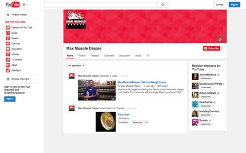 Screenshot of YouTube Page youtube.com - Max Muscle Draper  - YouTube - captured Oct. 27, 2014