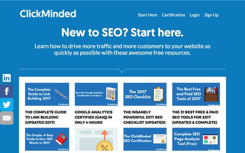 Screenshot of clickminded.com - New to SEO? Start Here with ClickMinded - captured May 31, 2017