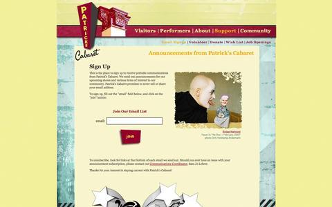 Screenshot of Signup Page Support Page patrickscabaret.org - ..:{  Patrick's Cabaret  }:..  Email Signup - captured Oct. 22, 2014
