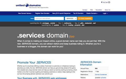 Screenshot of Services Page uniteddomains.com - .SERVICES Domain Name Extension Registration • United Domains - captured Oct. 29, 2014