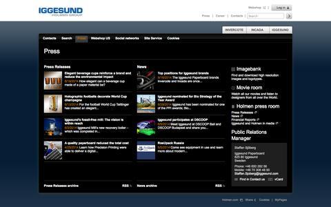 Screenshot of Press Page iggesund.com - Press - Iggesund - captured Sept. 22, 2014