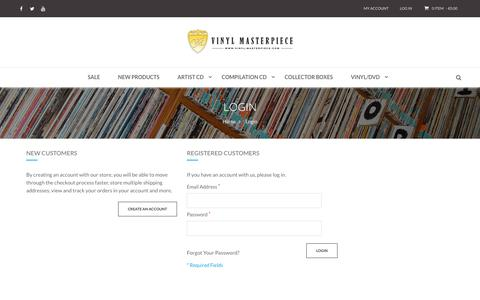 Screenshot of Login Page vinyl-masterpiece.com - Customer Login Vinyl Masterpiece - captured Oct. 26, 2018
