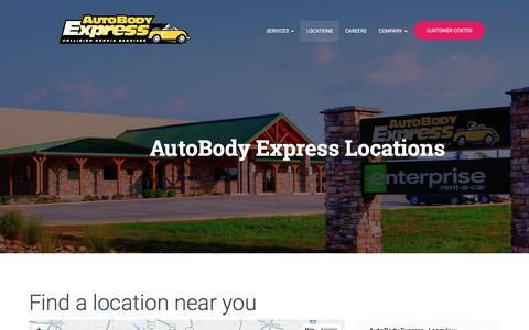 Screenshot of Locations Page autobodyexpress.com - AutoBody Express Locations | AutoBody Express - captured July 31, 2018