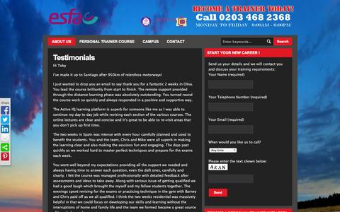 Screenshot of Testimonials Page esf-academy.com - Testimonials | European Sports & Fitness Academy (ESFA) - Personal Trainer Certification - captured Oct. 3, 2014