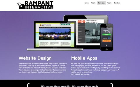 Screenshot of Services Page therampant.com - Services » Rampant Interactive - captured Oct. 7, 2014