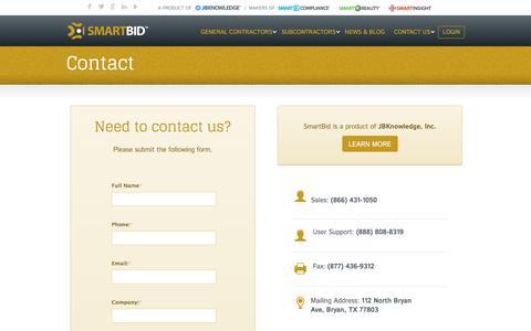 Screenshot of Contact Page smartbidnet.com - Contact SmartBidNet - A Product of JBKnowledge – SmartBidNet - captured Sept. 8, 2016