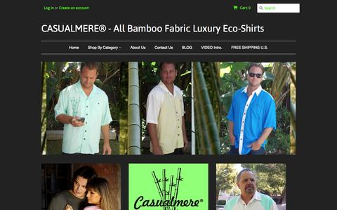 Screenshot of Home Page casualmere.com - All Bamboo Luxury Mens and Womens Eco-Shirts from bamboo. – CASUALMERE® - All Bamboo Fabric Luxury Eco-Shirts - captured Oct. 3, 2014