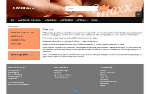 Screenshot of About Page massagewax.nl - Over ons - Massagewax - captured Oct. 17, 2017