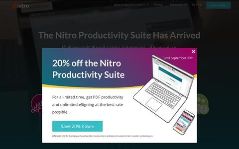 Screenshot of Home Page gonitro.com - Nitro | Edit, Convert, Create & eSign PDF Files - captured Sept. 19, 2018