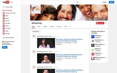 Screenshot of YouTube Page youtube.com - AICoaching  - YouTube - captured Oct. 23, 2014