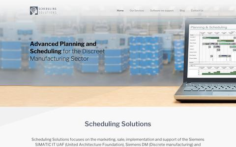 Screenshot of Home Page scheduling-solutions.co.za - Scheduling Solutions   Improving manufacturing operations and scheduling - captured Oct. 2, 2018