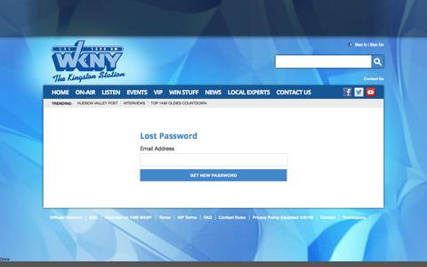 Screenshot of Login Page 1490wkny.com - 1490 WKNY –  The Kingston Station – Poughkeepsie News Radio - captured May 24, 2016